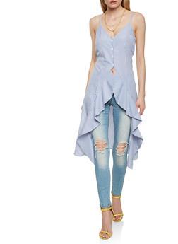 Sleeveless Striped Flyaway Shirt - 1002074290474
