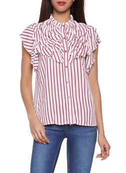 Ruffle Striped Button Front Shirt - 1002074292424