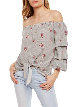 Striped Floral Off the Shoulder Top - 1004015998121