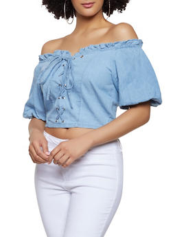 Lace Up Chambray Off the Shoulder Top - 1004038340655