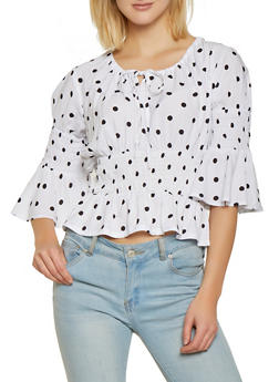 Tie Neck Polka Dot Top - 1004038340664