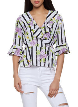 Ruffle Floral Wrap Top - 1004038340671
