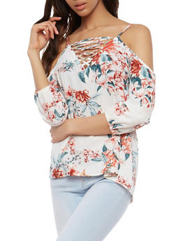 Floral Lace Up Cold Shoulder Top - 1004038348573