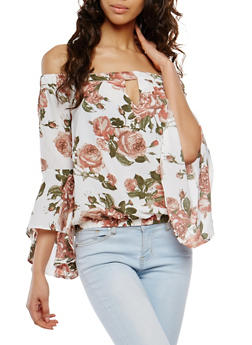 Floral Bell Sleeve Off the Shoulder Top - 1004038348574