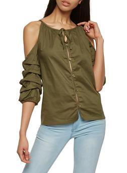 Button Front Cold Shoulder Top - 1004038348581