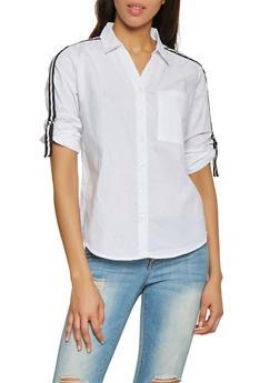 Striped Tape Buckle Sleeve Shirt - 1004038349551