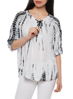 Tie Dye Three Quarter Sleeve Top - 1004038349605