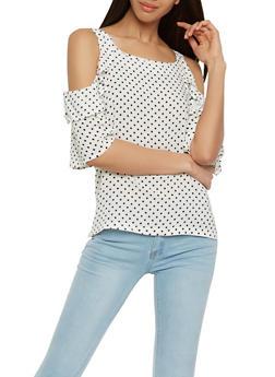 Polka Dot Cold Shoulder Top - 1004038349607