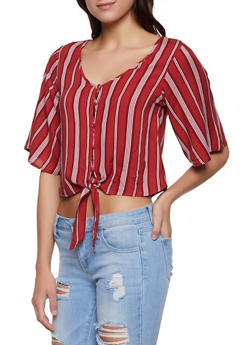 Tie Front Striped Shirt - 1004051060497