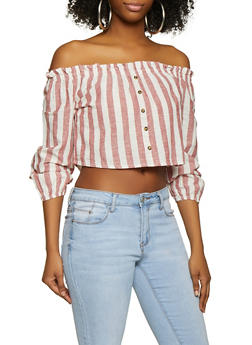 Striped Faux Button Off the Shoulder Top - 1004051060649