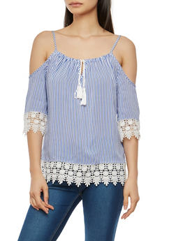 Crochet Trim Striped Off the Shoulder Top - 1004051069881