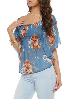 Sheer Floral Off the Shoulder Top - 1004051069915