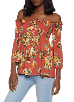 e4d2ddab58d63c Smocked Floral Off the Shoulder Babydoll Top - 1004051069916