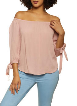 Tie Sleeve Off the Shoulder Gauze Knit Top - 1004054262043