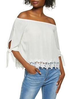 Tie Sleeve Off the Shoulder Crochet Trim Top - 1004054262178