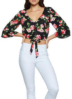 Floral Tie Front Top - 1004054265945