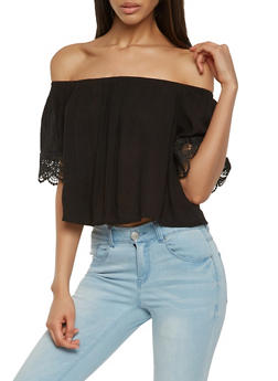 Crochet Trim Off the Shoulder Top - 1004054268935