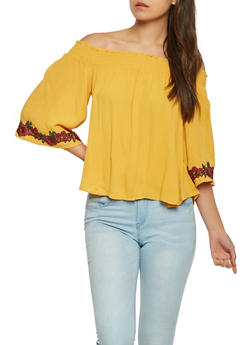 Off the Shoulder Top with Floral Applique - 1004054268979