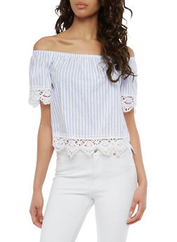 Striped Crochet Trim Off the Shoulder Top - 1004054269876