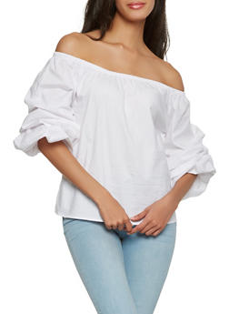 Bubble Sleeve Off the Shoulder Top - 1004054269943
