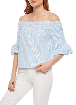 Striped Off the Shoulder Bell Sleeve Top - 1004054269954