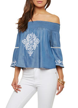 Off the Shoulder Embroidered Chambray Top - 1004058750084