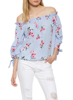 Striped Floral Off the Shoulder Top - 1004058750326