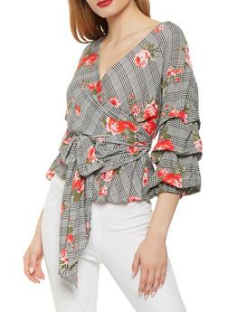 Floral Plaid Bubble Sleeve Wrap Top - 1004058750340