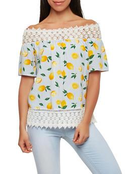 Striped Lemon Print Off the Shoulder Top - 1004058750344