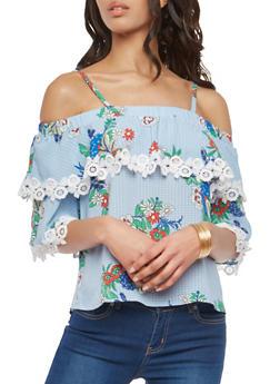 Floral Crochet Trim Off the Shoulder Top - 1004058750384
