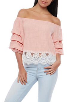 Lace Trim Off the Shoulder Top - 1004058750405