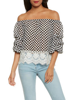 Checkered Off the Shoulder Top - 1004058750473