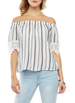 Off the Shoulder Striped Top - 1004058750479