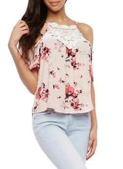 Floral Crochet Cold Shoulder Top - 1004058750525