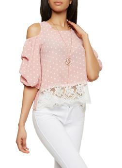 Polka Dot Cold Shoulder Top with Necklace - 1004058750570