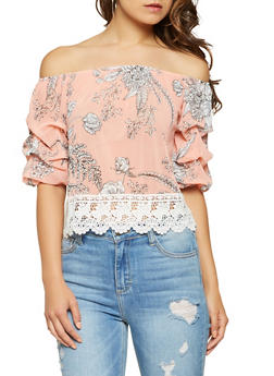 Floral Crochet Trim Off the Shoulder Top - 1004058750670