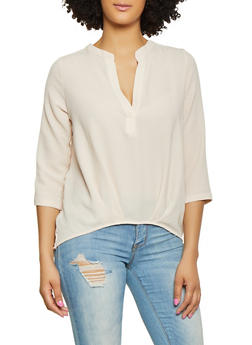 Three Quarter Sleeve Blouse - 1004058750818