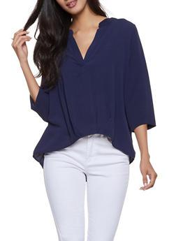 Three Quarter Sleeve Blouse - 1004058750818