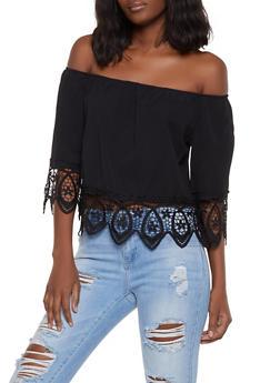 Crochet Trim Off the Shoulder Top | 1004058751141 - 1004058751141