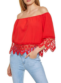 Crochet Trim Off the Shoulder Top | 1004058751141 - 1004058751141