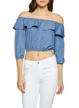 Chambray Off the Shoulder Top - 1004058751163
