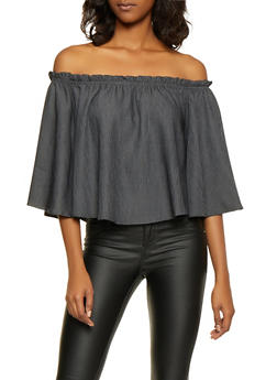Off the Shoulder Bell Sleeve Top - 1004058751741