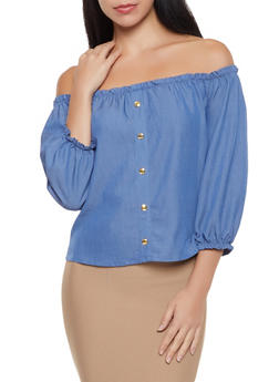 Chambray Off the Shoulder Top - 1004058751984