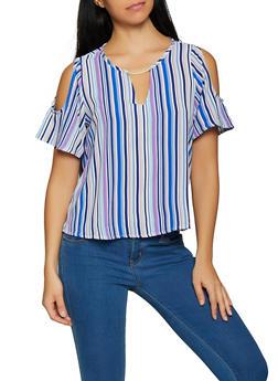 Striped Cold Shoulder Top - 1004058752155