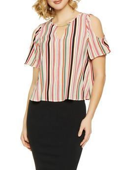 Striped Cold Shoulder Top - 1004058752155