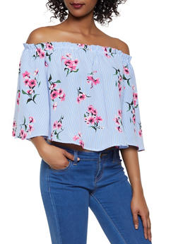 4897a8e42bec53 Floral Striped Off the Shoulder Top - 1004058752240