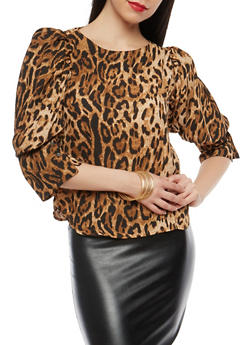 Leopard Print Puff Sleeve Blouse - 1004074290154