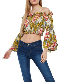 Floral Smocked Off the Shoulder Crop Top - 1004074290161