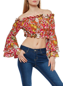 Floral Smocked Off the Shoulder Crop Top - 1004074290161