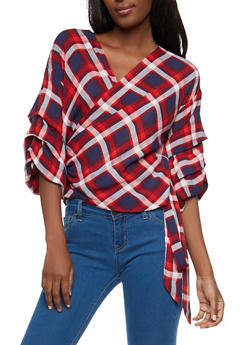 Plaid Tiered Sleeve Wrap Top - 1004074290444